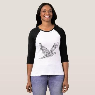Camiseta Paz - o Bella das mulheres+T-S do Raglan da luva