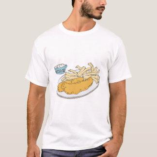 Camiseta peixe com batatas fritas