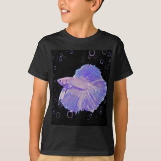 Camiseta Peixes de combate roxos iridescentes
