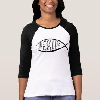 Camiseta Peixes de Jesus: T-shirt do Raglan da luva das