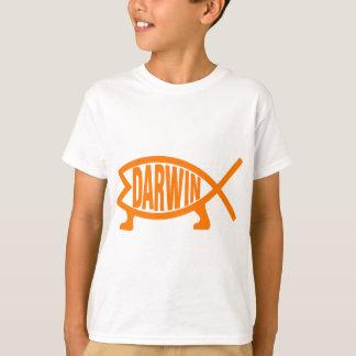 Camiseta Peixes originais de Darwin (luz - laranja)