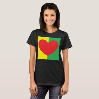 Camiseta pelo cheio do coração da canela A do t-shirt do