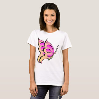 Camiseta pelo t-shirt da mosca da manteiga do rosa da