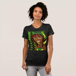 Camiseta pelo t-shirt jamaicano do sorriso da canela