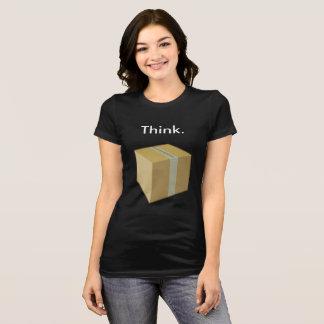 Camiseta Pense fora do t-shirt da caixa