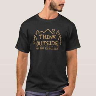 Camiseta Pense fora, nenhuma caixa exigida