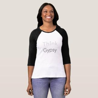 Camiseta Pense o t-shirt do Raglan da luva do cigano 3/4