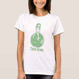 Camiseta Pense verde