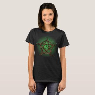 Camiseta Pentacle da árvore no verde