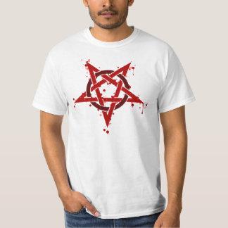 Camiseta Pentagram manchado satânico vermelho