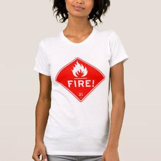 Camiseta Perigo de fogo vermelho do sinal de aviso do sinal