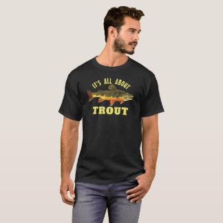 Camiseta Pesca com mosca cómico da truta de ribeiro