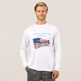 Camiseta pescador americano do baixo listrado