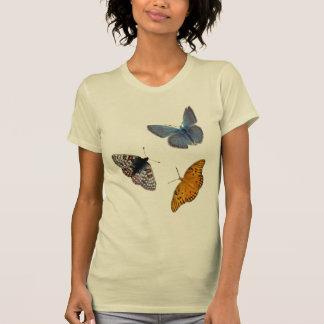 Camiseta Pescoço de grupo de 4 borboletas