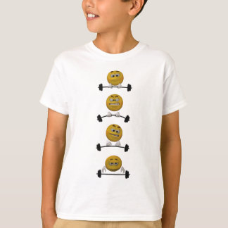 Camiseta Pesos de levantamento do Emoticon, estilo dos