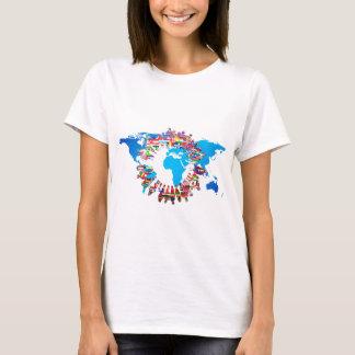 Camiseta Pessoas do círculo da bandeira do continente