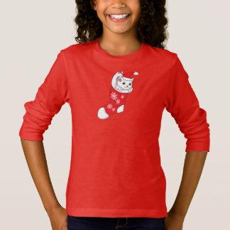 Camiseta Peúga branca do vermelho do gato do gatinho do