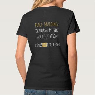 Camiseta Pianos para o t-shirt do preto do V-Pescoço das