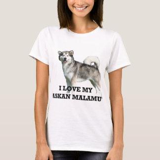 Camiseta PIC de w do amor do malamute do Alasca