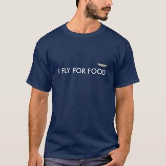 Camiseta Piloto que preto do t-shirt EU VÔO PARA A COMIDA