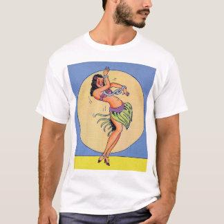 Camiseta Pin do kitsch do vintage acima da menina de dança