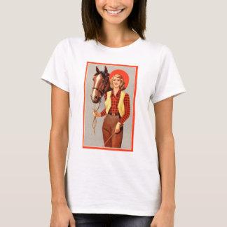 Camiseta Pin retro do kitsch do vintage acima da vaqueira &