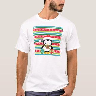 Camiseta Pinguim do presente em fundo listrado do floco de