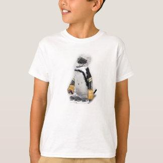 Camiseta Pinguim pequeno que veste a engrenagem do hóquei