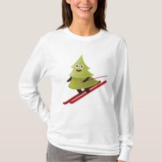 Camiseta Pinheiro feliz do inverno no esqui