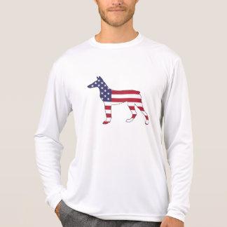 "Camiseta pinscher ""bandeira americana "" do doberman"