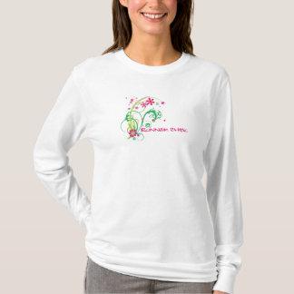 Camiseta Pintinho do corredor, 13,1 verdes & cor-de-rosa