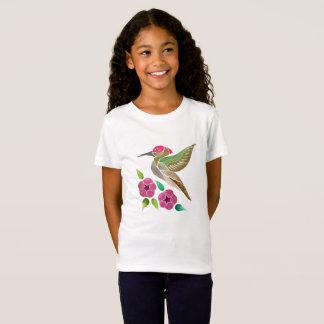 Camiseta Pintura abstrata do colibri e do petúnia