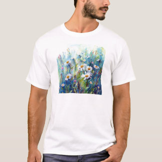 Camiseta Pintura da aguarela do campo da margarida