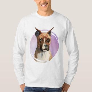 Camiseta Pintura da aguarela do cão do pugilista