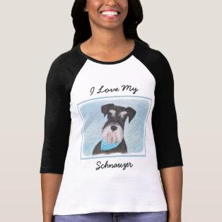 Camiseta Pintura (diminuta) do Schnauzer - cão original