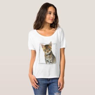 Camiseta Pintura do gatinho do gato malhado com quadro de