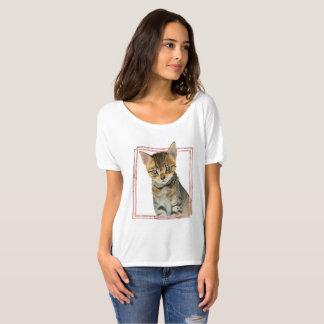 Camiseta Pintura do gato de gato malhado com quadro