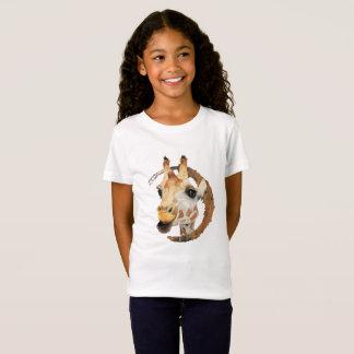 Camiseta Pintura do girafa com quadro do círculo do ouro do