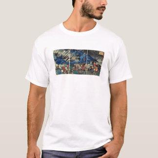 Camiseta Pintura japonesa antiga do samurai e dos Mongols