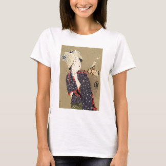 Camiseta Pintura japonesa. Mulher com bebê C. 1909