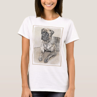 Camiseta Pintura (rajado) inglesa do Mastiff - cão original