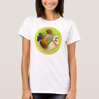 Camiseta Pintura realística dos passarinhos de Munia