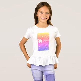 Camiseta Pipoca das meninas contra o t-shirt do plissado do