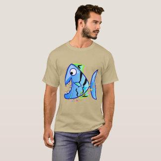 Camiseta Piranha tropical azul com estrelas