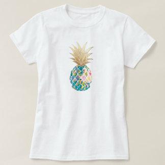 Camiseta PixDezines Havaí, Aloha abacaxi da cerceta/ouro do