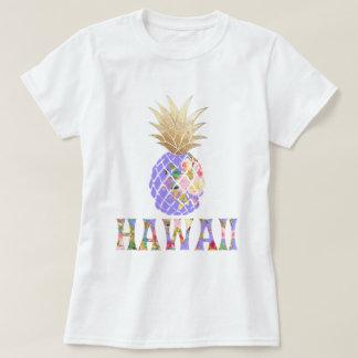 Camiseta PixDezines Havaí, Aloha abacaxi/ouro do falso