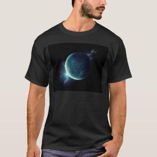 Camiseta planeta verde no universo com aura e estrelas