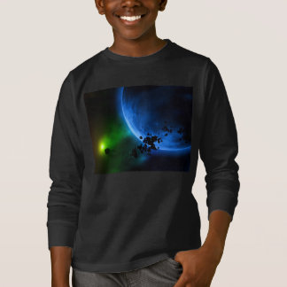 Camiseta Planetas azuis estrangeiros