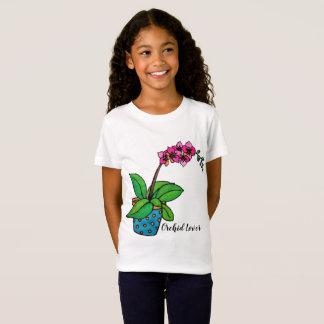 Camiseta Planta da orquídea da aguarela no pote bonito