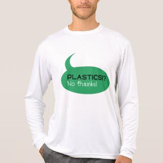 Camiseta Plásticos!? /T-shirt longo luva dos homens